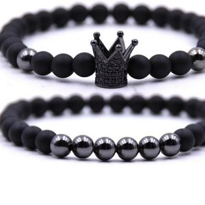 Mens 2 piece natural stone crown 👑 bracelet